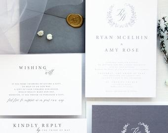 Francesca Silver Wedding Invitation Sets, Monogram Wreath Invitation, Elegant Wedding, Pewter Invitations, Grey, Golden Wax Stamp