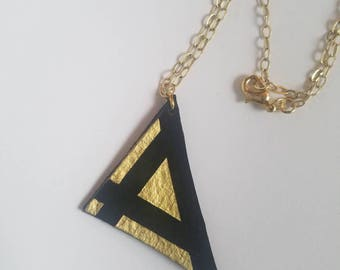 Geometric Triangle Leather Pendant Necklace Black Suede Gold Paint
