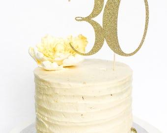 30 Birthday Cake Topper • Thirty Cake Topper • Gold Glitter Topper • Age Cake Topper • Number Cake Topper