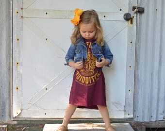 Harry Potter tshirt dress romper- harry potter gryffendor dress- custom romper- hipster romper tee- custom Harry Potter toddler outfit