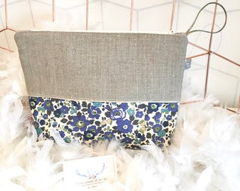 Personalized toiletry bag in linen and Liberty Betsy Sapphire