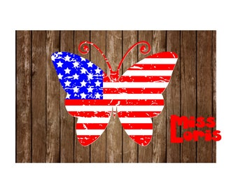 Butterfly flag distressed  SVG DFX Cut file  Cricut explore file t-shirt decal wood signs