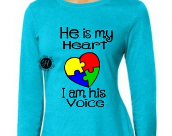 He is my heart I am his voice Autism  Heart SVG Cut file  Cricut explore file t shirt decal