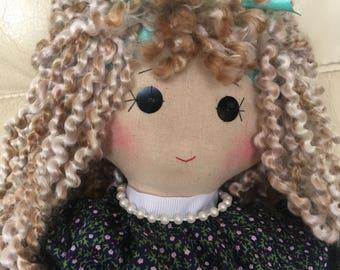 traditional rag doll, classic rag doll, unique rag doll, handmade rag doll