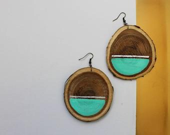 earthy earrings - artisan earrings - statement earrings - boho style earrings - natural earrings - wooden earrings - tree earrings - fashion