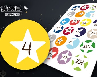 24 labels / numbers with stars for your advent calendar advent calendar numbers for children