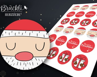 24 Christmas sticker / Christmas / gift stickers / Christmas symbols / gift tags / Santa Claus