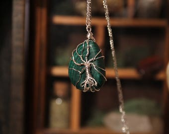 Malachite Pendant Necklace, Tree of Life, Jewelry, Crystal, Crystals, Crystal Pendant