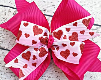 Valentine's Day Hair Bow, Heart Hair Bow, Pink Valentines Bow, Valentine Gift for Girl, Heart Hair Clips, Valentines Day Bow for Girl