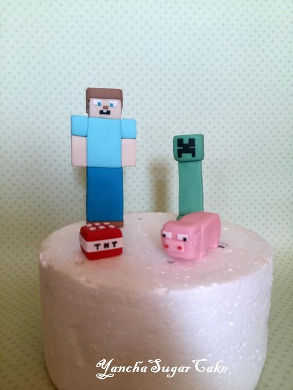 Fondant edible Minecraft 3d figures cake topper 4 characters