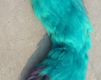 Teal tail, Monster tail, Teal yarn tail, yarn tail, clip on tail, animal costume, festival wear, kawaii, birthday outfit, halloween, furry