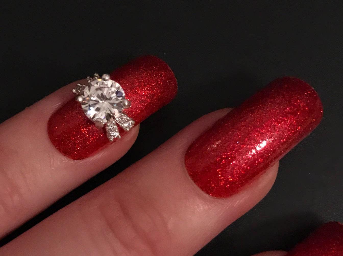 1 x atemberaubende Zirkon Nagel Juwel Ring Diamant-Nagel-Kunst-Stein ...