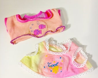 Vintage 1990s Galoob Baby Face Doll Fashion Clothes (2 x Tops) USED