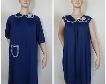 Vintage Womens Shadowline Navy Blue Gown and Robe Two Piece Matching Set with White Lace Trim | Size M
