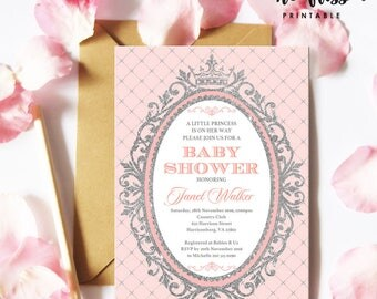 Pink and Silver Princess Baby Shower Invitation | 5x7 | Editable PDF | Instant Download | Personalize with Adobe Reader