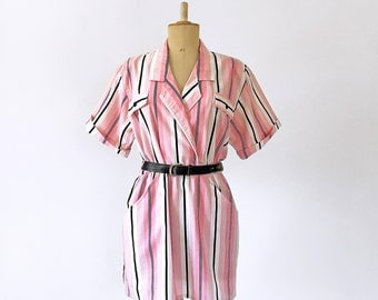 80s pink Safari stripe dress - Lightweight chic cotton dress - casual Voyageuse mini dress