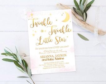 Twinkle Twinkle Little Star Baby Shower Invitation, Boy Girl Twinkle Twinkle Baby Shower Invitation, Pink Little Star Baby Shower Invitation