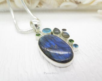 Blue Shine Labradorite Blue Topaz and Peridot Sterling Silver Pendant and Chain