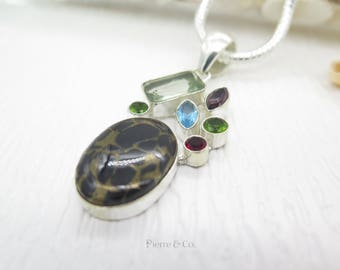 Black Copper Turquoise Green Amethyst Peridot Garnet Sterling Silver Pendant and Chain