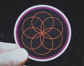 "Seed of Life Sticker - 2.5"" Durable Vinyl Sticker - Sacred Geometry - Weather Resistant - Metaphysical Accesory - Mystical Orange/Purple"