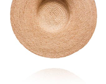 Straw wide Sun hat - Brim 7inches, Customized, Personalized Summer Hat, any custom line