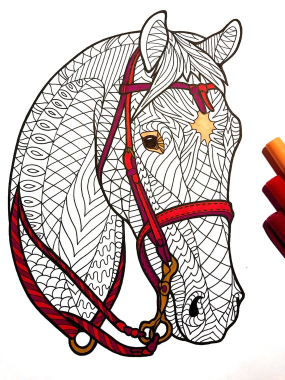 Bridled Horse PDF Zentangle Coloring Page
