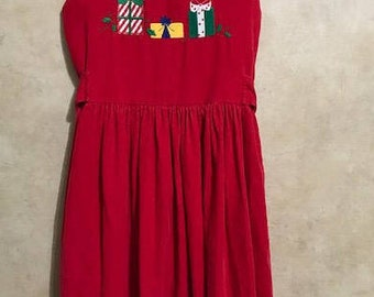 Holiday Corduroy  Dress or Jumper for Girls size 8 By The Balley Boys