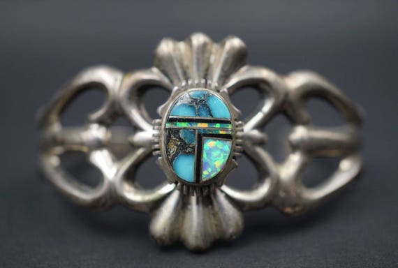 "Francis Begay Sandcast Sterling Silver Opal Turquoise Navajo Inlay Bracelet 6.5"" BS962"