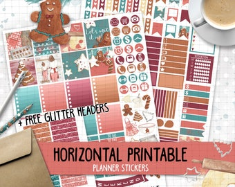 Horizontal christmas printable planner stickers for Erin Condren Life Planner TM red green christmas gingerbread cookies baking weekly kit