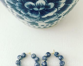 Blue and White Chinoiserie Floral Hoop Earrings | navy blue, porcelain, gold, Chinese, hoops