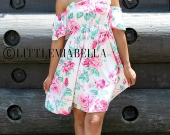 1 ADULT ONLY, off the shoulder dress, mother daughter, matching outfits, mommy and me outfits, floral dress, woman dress, mommy and me dress