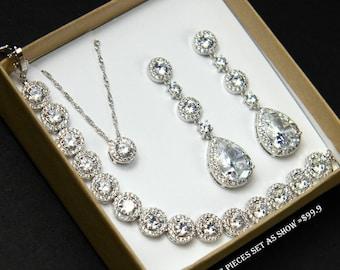 Silver bridal jewelry set ,Crystal Bridal Earrings, Wedding earrings, Long Bridal earrings, Bridesmaids, Wedding Jewelry, Stud Earrings