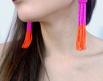 Orange tassel earrings,  Oscar de La Renta earrings, long statement earrings, hot pink tassel earrings, bead tassel earrings, boho earrings