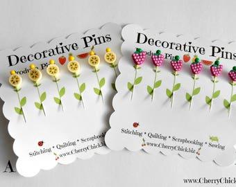 Decorative Sewing Pins - Banana Slice Pins - Grape pins - Sewing Pins - Scrapbooking Pins - Quilting Pins - Fruit Pins - Pin Toppers