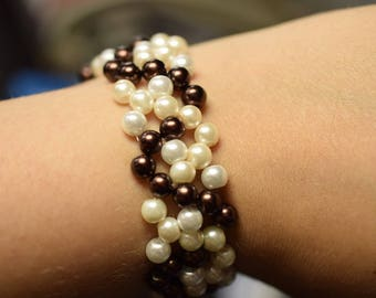 Wave pearl bracelet, 6mm glass pearls, elegant bracelet