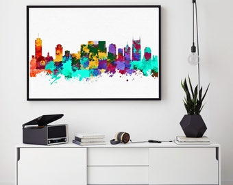 Nashville Skyline Art, Nashville Print, Watercolor Skyline, Nashville Home Art Decor, Tennessee Painting, Nursery Decor (N139)