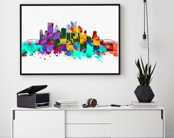 Pittsburgh Skyline Print, Pittsburgh Skyline Art, Pittsburgh Wall Decor, Pittsburgh City Home Decor, Cityscape, Watercolor Pittsburgh (N153)