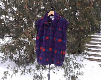 Vintage Fleece Vest, 90s Ski Vest, Pattern Fleece, Zip Up, Fleece Vintage, 90s Clothing, Size Small to Large, Skiing, Fleece Sweater, Aztec