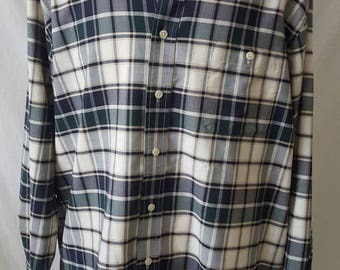 1970s Towncraft Wrinkle Free Mens L/S Plaid Shirt XL Retro 1950s Look Lumberjack Shirt Grunge Stoner Rock Shirt Button-down Collar