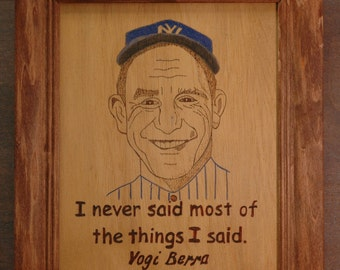 Yogi Berra portrait and quote.