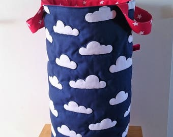 Storage basket, large toy bag, basket, laundry or stuffed animals, tray for child's room. Red and blue