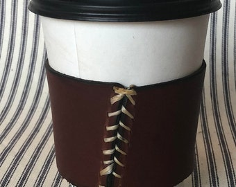 REUSABLE Leather Coffee Cup Sleeve