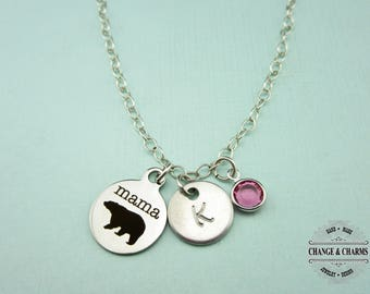 Mama Bear Charm Necklace, Mama Bear Necklace, Mom Necklace, Mother's Day Gift, Mom Gift, Charm Necklace, Sterling Silver, Stainless, CST008