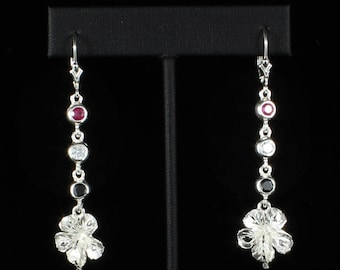 Large Hibiscus Flower with Red, White, and Black stones Earring in Sterling Silver