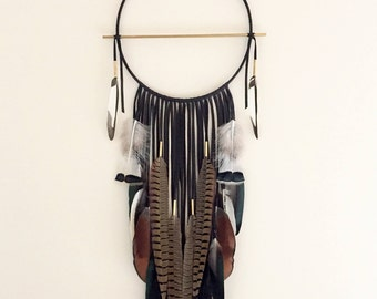 "Black Leather Dream Catcher, 12"" x 35"". Handmade. Wall hanging."
