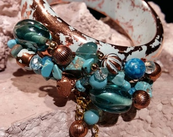 Beaded cuff bracelet, turquoise chip, crystal, glass bead, perfect cruise wear, beach and resort