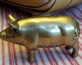 Brass pig paperweight. Vintage Desk accessory.