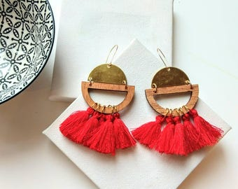 Red tassel earrings ~ contemporary earrings for women ~ semicircle raw brass drop earrings ~ modern jewelry gift for women ~ brass jewelry