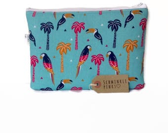 Large Toucan Pencil Case, Makeup Bag, Notions Bag