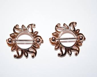 Rose Gold Swirling Sunburst Tribal Shield Nipple Ring with 316L Surgical Steel Barbell, Nipple Jewelry, Nipple Piercings, Nipple Rings